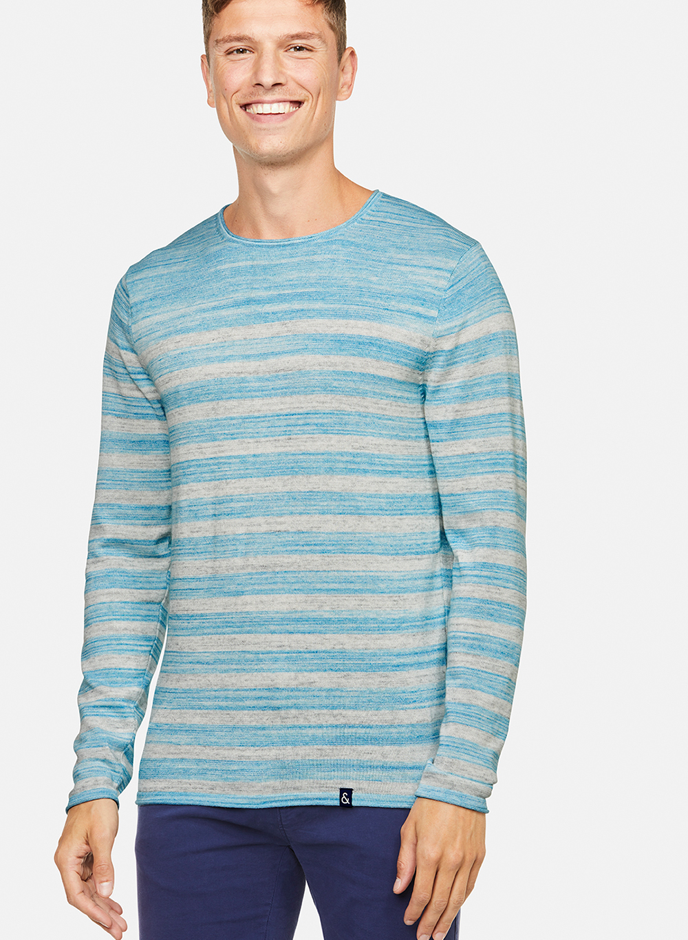 geringelter Pullover in hellblau von Colours and Sons